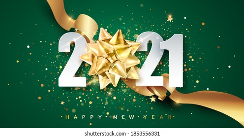 2021 green Happy New Year vector background with golden gift ribbon, confetti, white numbers. Christmas celebrate design. Festive premium concept template for holiday.