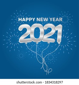 2021 Happy new year balloons with fireworks silver design, Welcome celebrate and greeting theme Vector illustration