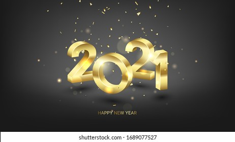 2021 Happy New Year banner. Vector illustration with gold numbers and golden confetti. Merry Christmas and Happy New Year holiday symbol template on black background.