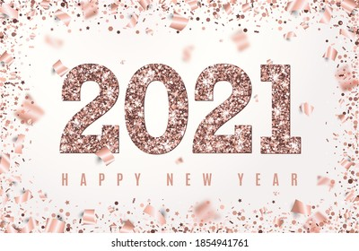 2021 Happy New Year Banner with glowing Rose Gold Numbers on white background with flying geometric and foil paper confetti. Vector illustration. All isolated and layered