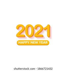 2021 Happy new year creative design background or greeting card with text. vector 2021 new year orange 3d numbers with shadow isolated on white background