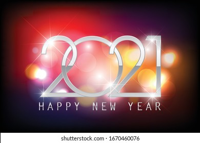 2021 Happy New Year elegant design - vector illustration of 2021 Metallic Chrome Style logo numbers on Colorful bokeh background - perfect typography for 2021 save the date luxury designs and new year