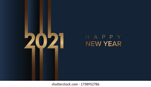 2021 happy new year with gold brown color on blue and grey background. 2021 new year design template
