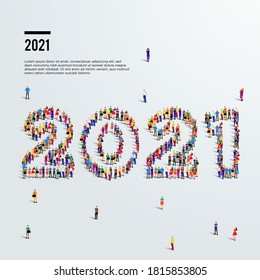 2021 happy new year greeting. Large group of people form to create year 2021.