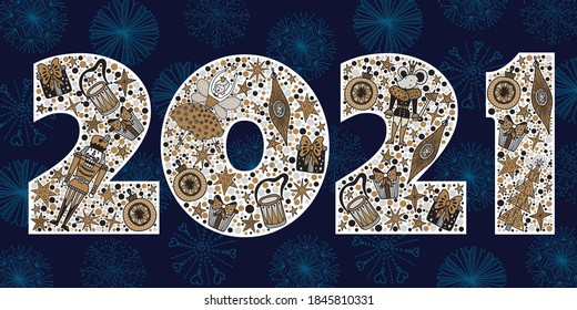 2021 Happy New Year greeting card design. Vector winter holiday illustration with  2021 numbers Christmas illustration with motifs from the Nutcracker ballet. Silver and gold colors.