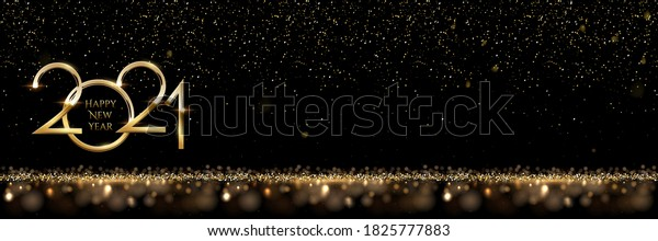 2021 Happy New Year horizontal banner vector template. Winter holiday, christmas congratulations. Festive postcard, luxurious greeting card concept. Numbers with golden glitter and text space
