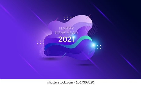 2021 happy new year. Liquid shape with neon light. Colorful fluid modern design. Abstract dynamic trendy vector illustration.