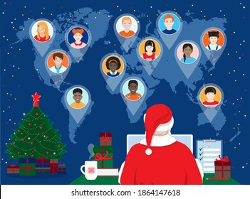2021 Happy New Year, Merry Christmas banner. Santa Claus at computer screen, meeting virtual with diverse children, boys, girls around the world, sending Christmas gifts checking Naughty or Nice list