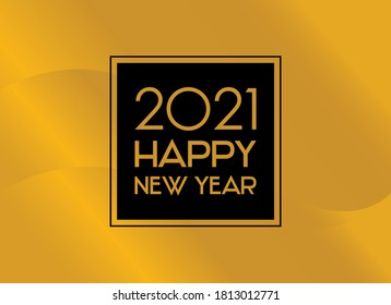 2021 Happy New Year shiny golden background frame vector. 2021 New Year sign on a golden festive background. Happy New Year 2021 black and gold greeting card vector