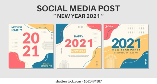 2021 happy new year social media post template collection. Web banner and flyer design vector illustration