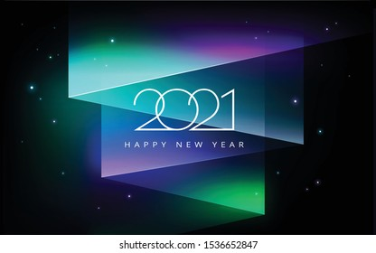 2021 Happy New year vector illustration - aurora borealis Northern lights in the sky - black, green, purple, blue colors - 2021 new year save the date banner