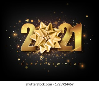 2021 Happy New Year vector background with golden gift bow, confetti, white numbers. Winter holiday greeting card design template. Christmas and New Year posters