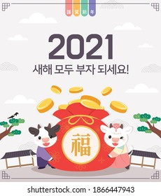 2021 Korean New Year's Day illustration. (Korean translation: Be rich in the new year)