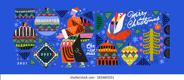 2021! Merry Christmas and Happy New Year! Vector trendy abstract illustrations for holiday graphic design: santa claus, fox, christmas tree, christmas tree toy, ornament. Geometric objects.