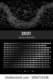 2021 moon phases calendar and equatorial star map vector