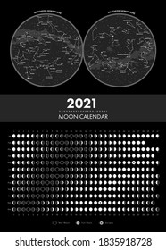 2021 moon phases calendar and hemisphere star map vector