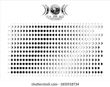 2021 moon phases calendar white astronomy vector chart