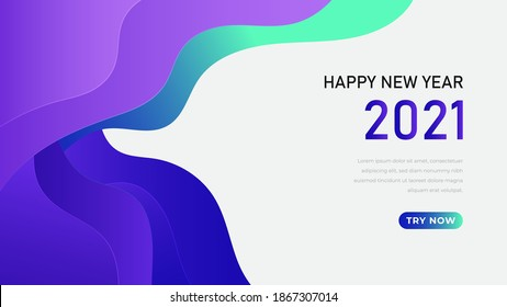 2021 New Year banner. Paper cut numbers with 3d bright colors wavy shapes. Minimal cover design. Template for Christmas flyers, greeting cards, brochures. Vector.