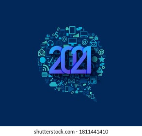 2021 new year business technology set application icons digital marketing ideas concept, Vector illustration modern design layout template