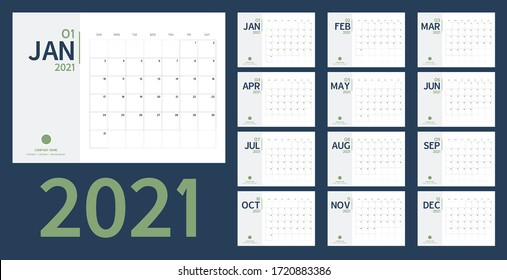 2021 new year calendar and planner vector in clean minimal table simple style and blue gold color,Holiday event planner,Week Starts Sunday.include holiday event