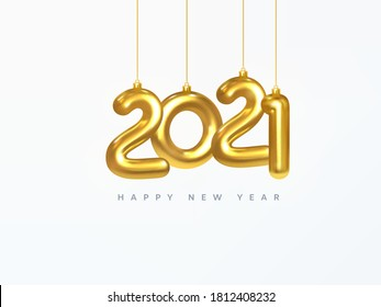 2021 New Year card. Design of Christmas decorations hanging on a gold chain gold number 2021. Happy new year. Realistic 3d. Vector illustration