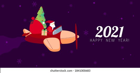 2021 New Year card design. Santa Claus with gifts and tree flying on airplane. Vector illustration for promotion banners, headers, posters, stickers. Santa's plane. Christmas card, poster, banner