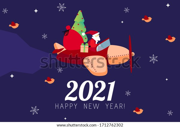 2021 new year card design santa stock vector royalty free 1712762302 shutterstock