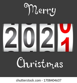 2021 New Year counter Christmas congratulation Black background