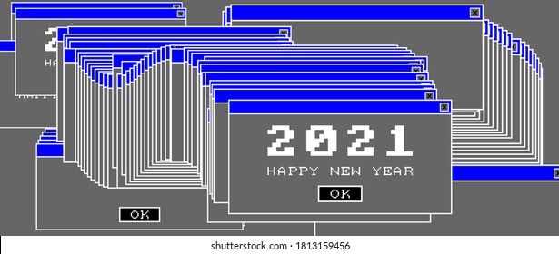 2021 New Year data corruption glitch art modern trendy style design for Christmas holiday poster, greeting card, invitation, banner or placard. Window error. Vector illustration