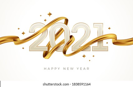 2021 New Year  logo with golden paint brushstroke..   New Year sign with golden ribbon. Vector illustration.