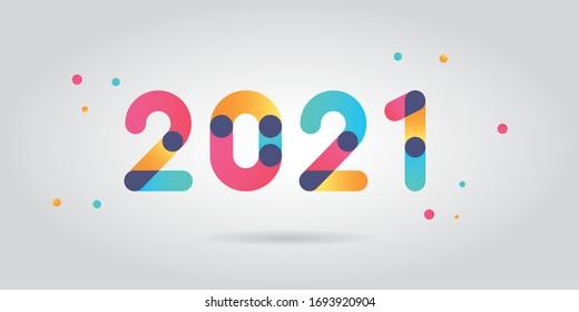 Numéros de nouvelle année 2021 avec couleur dégradée