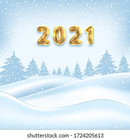 2021 New Year Poster, Winter Outdoor Background