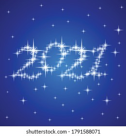 2021 new year stars on dark blue vector theme