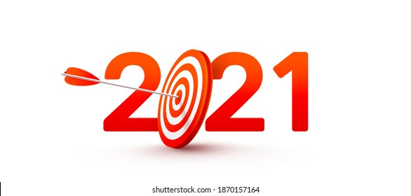 2021 New Year Target and Goals with Symbol of 2021 from red archery target,arrows archer and number on white background.Resolution and target for new year 2021 concept.Vector illustration eps 10