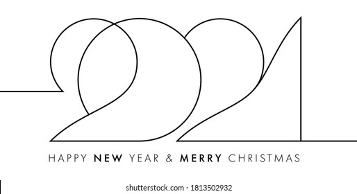 2021 number New Year design template for calendar, invitations, greeting cards, posters and banners. Vector illustration