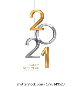 2021 silver and gold numbers hanging on white background. Vector illustration. Minimal invitation design for Christmas and New Year.