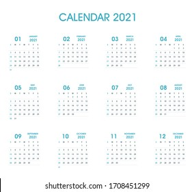2021 Simple Calendar Flat design. Blue Color. Isolated on white. Calendar design template. Week starts on Sunday. Business vector illustration.
