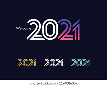 2021 Text Design - Modern 2021 Text Design, Perfect For Website, Annual Report, Poster, Editorial, Invitation Card, Banner And Others. Scalable and Editable Colour. Vector.