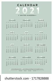 2021 United Kingdom Calendar Week Start on Sunday.