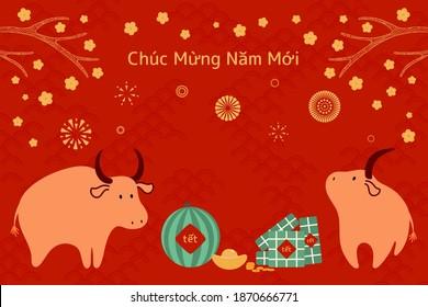 2021 Illustration du nouvel an vietnamien, joli buffle, gâteaux de riz, pastèque, or, fleurs d'abricot, texte vietnamien Bonne année. Image vectorielle dessinée à la main. Design plat. Carte de concept, affiche, bannière.