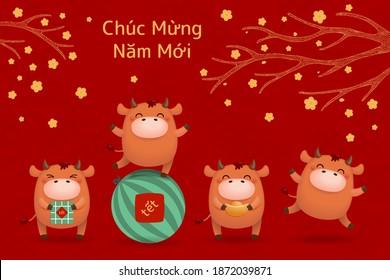 2021 Illustration du nouvel an vietnamien, joli buffle, gâteaux de riz, pastèque, or, fleurs d'abricot, texte vietnamien Bonne année. Image vectorielle dessinée à la main. Carte de vacances Concept Design, bannière, affiche.