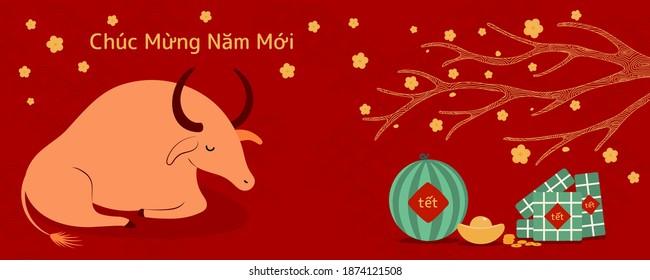 2021 Illustration du nouvel an vietnamien, buffle, gâteaux de riz, pastèque, or, fleurs d'abricot, texte vietnamien Bonne année. Image vectorielle dessinée à la main. Design à plat. Carte de concept, affiche, bannière.