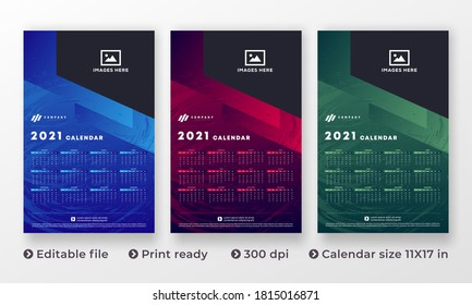 2021 Wall Calendar Design, Set Wall Calendar design with Place for Photo and Company Logo. All in One. Set of 12 Months Vector Template