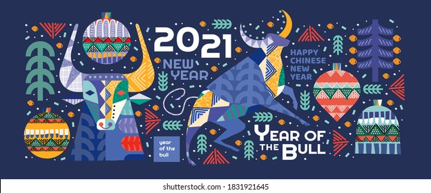 2021. Year of the bull. Vector abstract illustrations for the new year for poster, background or card. Geometric drawings for the year of the bull according to the Eastern Chinese calendar.