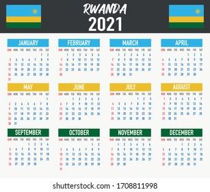 Jahreskalender 2021 mit nationaler Flagge des Landes RWANDA. Monat, Tag, Woche. Farbige Farbpalette, trendig, einfach Design. Vektorillustration-Illustration für Web, Business, Erinnerung, Planer