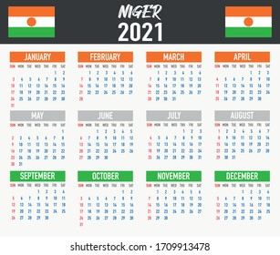 2021 year calendar with national flag of country Niger. Month, day, week. Colorful palette, trendy, simply design. Vector illustration for web, business, reminder, planner