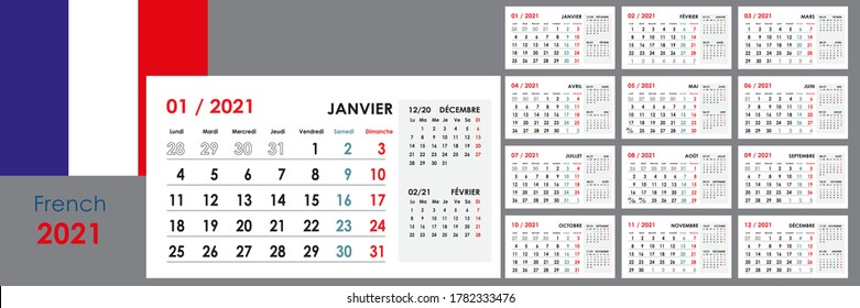 2021 year calendar. Week starts from Monday. 12 boards or cards. Organizer and planner template. Horizontal format. French language.