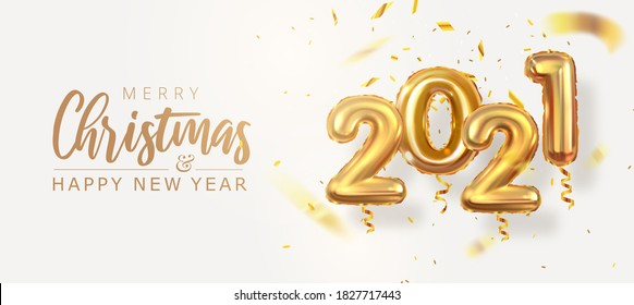 2021 year, golden numbers balloons, 3d volumetric balloons, new year and christmas, vector illustration