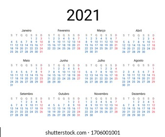 2021 year Portuguese calendar in Portuguese language. Classical, minimalistic, simple design. White background. Vector Illustration. Week starts from Monday.