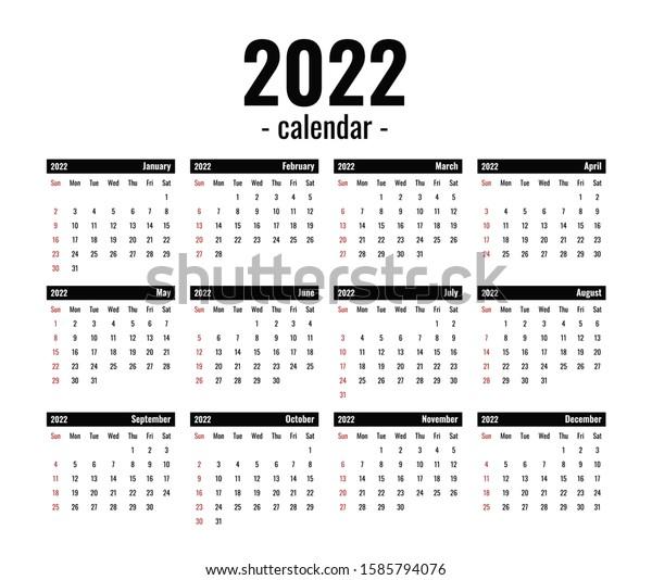 2022 Calendar Clipart.2022 Calendar Template Computer Black White Stock Vector Royalty Free 1585794076